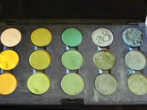 mac makeup green yellow eyeshadow palettes